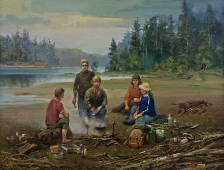 The Oil Painting of the Work Scene of Paleontologists