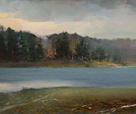 The Oil Painting of the Tranquil Landscape