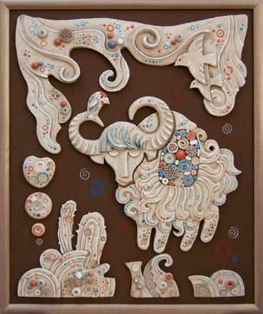Ceramic panel with Cheerful Yak