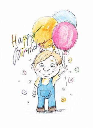 Smiling Boy  Surrounded by Colorful Balloons Stock Photo