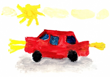 Child s Drawing of a Car going Outdoors Stock Photo