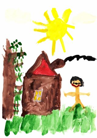 Children s colored illustration of the Happy Life