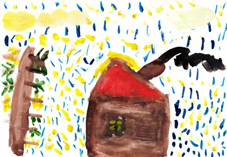 Child s Drawing of a House with a Garden