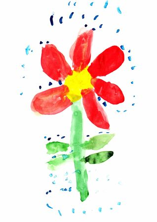 Children s colored illustration of a Flower Stock Photo