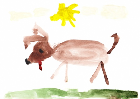 Children s colored illustration of a Cute Dog