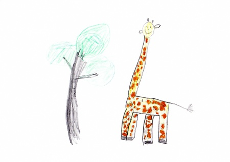 Child s drawing of a Cute Giraffe Stock Photo