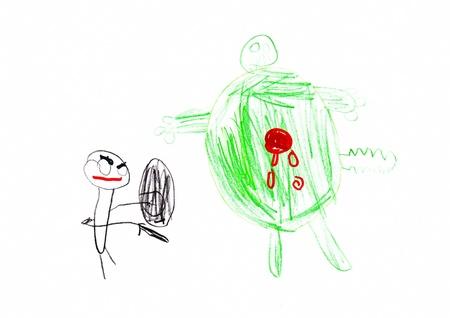 Kind s Tekening van een Superhero en Monster Stockfoto