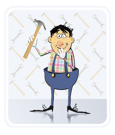 The vector illustration of the Construction Worker holding a hammer and ready to work   Vector
