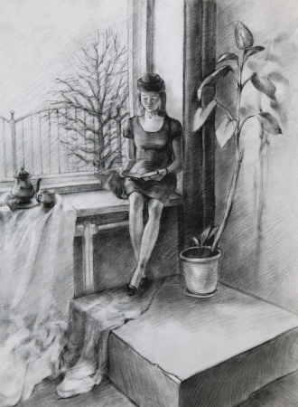 Young Woman sitting near a Window and reading a Book. It is a Pencil Drawing.