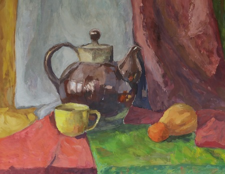 Still life with Teapot. Painting. Gouache on Paper.   Stock Photo