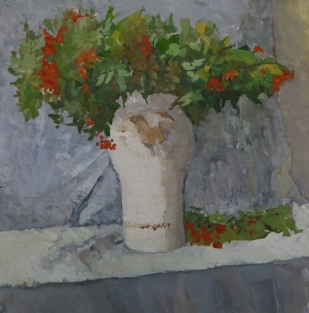 Branches of a Rowan (Ashberry) in Vase. Painting. Gouache on Paper photo