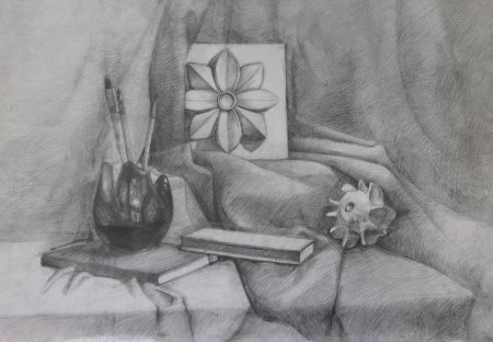 Still life with Crocket (Architectural Detail). It is a Pencil Drawing