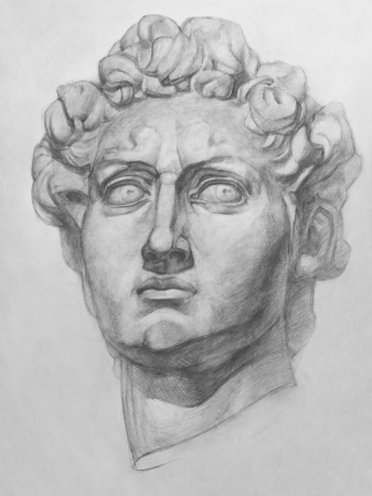 Plaster Replica of the David Statue by Michelangelo. It is a Pencil Drawing
