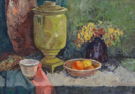 samovar: Still life with Old Brass Samovar. Painting. Gouache on Paper Stock Photo