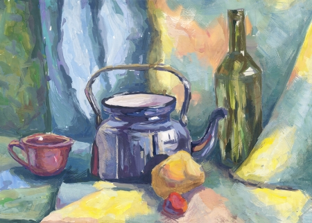 Still life with Metal Teapot and Bottle. Painting. Gouache on Paper