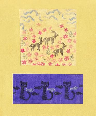 Bild von der Grafik, die auf Textil gedruckt Tiere