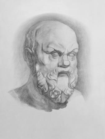石膏レプリカ バスト ソクラテス像は、鉛筆画