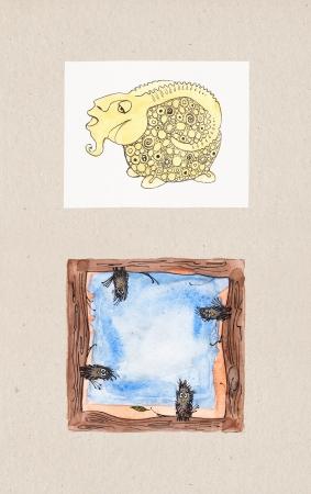 Aquarell Illustrationen von Tierthema Sheep Ram Rahmen, die einfach zu Ihren eigenen Informationen schreiben ist