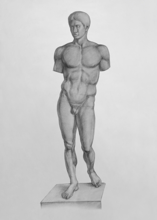 Plaster Replica of the Doryphoros of Polykleitos  Sculpture   It is a Pencil Drawing Stock Photo