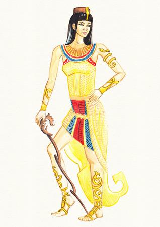 Aquarell-Illustration der �gyptischen Frau