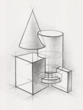 Illustration von geometrischen Formen Es ist eine Bleistiftzeichnung Lizenzfreie Bilder
