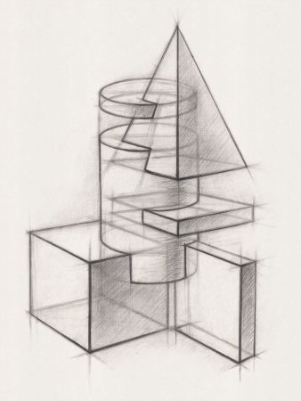 Illustration of Geometric Shapes  It is a Pencil Drawing