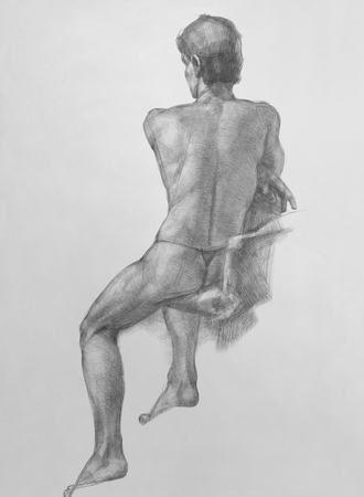 Man s back  It is a Pencil Drawing Stock Photo