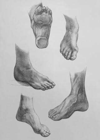 Zeigen der F��e. Es ist eine Bleistiftzeichnung