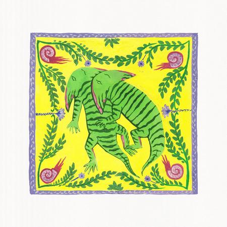 paleontologist: Illustration of Dinosaurs (Diplocaulus). Gouache on Paper