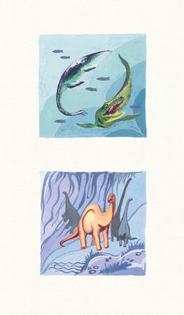 Variety of Dinosaurs. Gouache on Paper