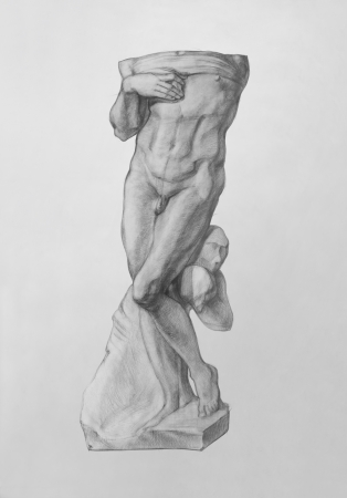 slave: The Dying Slave is a Sculpture by the Italian Renaissance artist Michelangelo. It is a Pencil Drawing Stock Photo