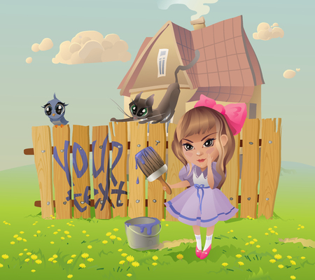 The vector illustration of the Girl writing the Message on the Fence.  Vector
