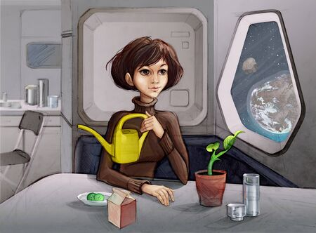Young Woman sitting near a Spacecraft Porthole and caring for the Plant.  Stock Photo