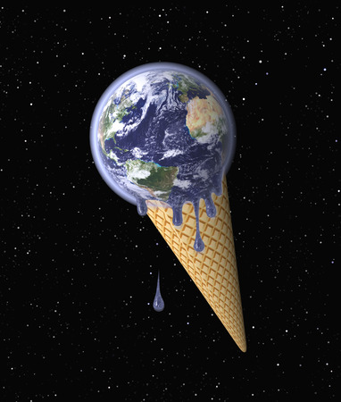 thawing: Earth in the Shape of the Ice Cream symbolizing Global Warming (Environmental Conservation concept); Globe mapping image provided by NASA http:visibleearth.nasa.govview.php?id=57735