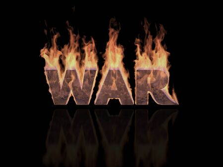 military invasion: The Three-dimensional word War in Flames symbolizing Global War issues (Rendering in 3D Program)