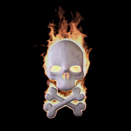 toxic substance: Burning skull isolated on Black (Rendering in the Three-dimensional Design Program)
