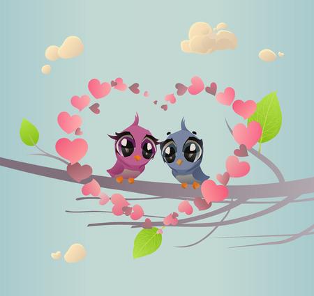 Two Enamoured Birdies (Romantic Spring Card)