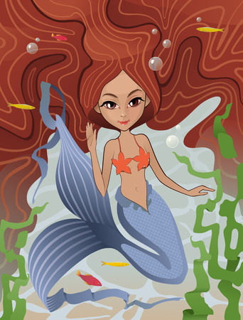 Siren of the Sea: The vector illustration of the Mermaid Swimming Underwater