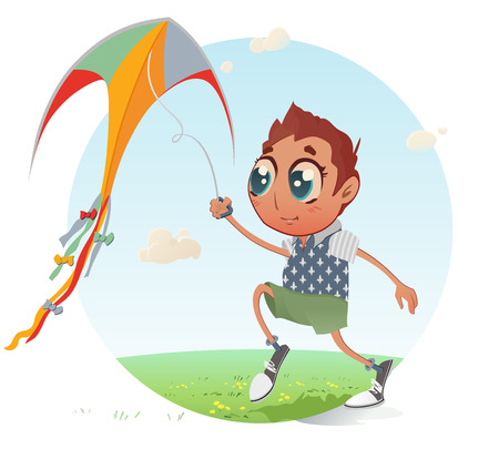 Boy flies his Kite: The vector illustration of the Little Boy flying a Kite into the Blue Sky