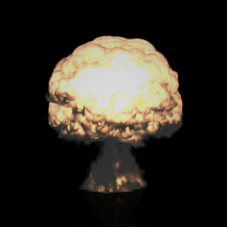 The Three-dimensional Mushroom Cloud Explosion symbolizing Global War issues, Environmental Protection and the Danger of Nuclear Energy Rendering in 3D Program.