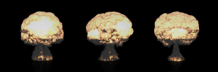 military invasion: The Three-dimensional Mushroom Clouds Explosions symbolizing Global War issues, Environmental Protection and the Danger of Nuclear Energy Rendering in 3D Program.