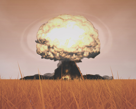mushroom cloud: The Three-dimensional Mushroom Cloud Explosion symbolizing Global War issues, Environmental Protection and the Danger of Nuclear Energy Rendering in 3D Program.