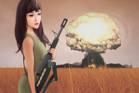 military invasion: Female Soldier. The illustration of the Female Soldier with Gun. The Armed Girl and Mushroom Cloud symbolizing Global War issues.