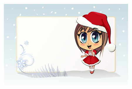 Santa girl. The vector illustration of the Smiling Christmas Girl wearing Santa Hat. Merry Christmas !. There is Copy Space