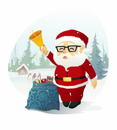 Santa Claus. The vector illustration of the Santa Claus with a Bell and Bag full of Christmas Presents and Gifts. Christmas Bell Ringer. New Year, Christmas, Holiday Greeting Card. No Transparency!