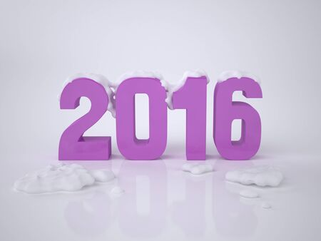 2016. New Year Card with Three-dimensional Numerals 2016. The illustration of the 2016 Concept. Rendering image