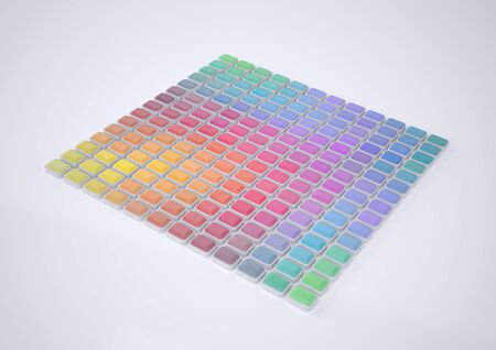 color swatches: Abstract Color Palette. Abstract Patterns of Color Spectrum. Color Swatches. Rendering in 3D Program Stock Photo