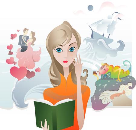 Cute Girl reading a Book. The vector illustration of the Girl with the Book. Book Cover. Reading Literature