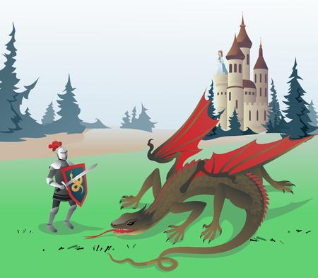 cavaliere medievale: Cavaliere combattendo Drago. L'illustrazione di vettore del cavaliere medievale combattendo Drago per salvare la principessa chiusa nel castello. Illustrazione sulla base di fiabe tradizionali.