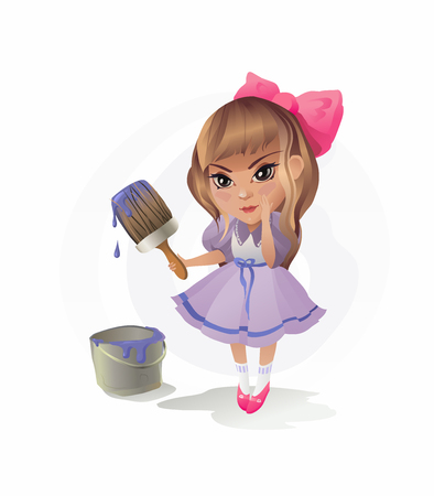 Little Girl with Paintbrush. The vector illustration of the Girl with Paintbrush. Art. Painting. Artist. Near a Paintbrush it is easy to write Your Own Information for Your design Illustration